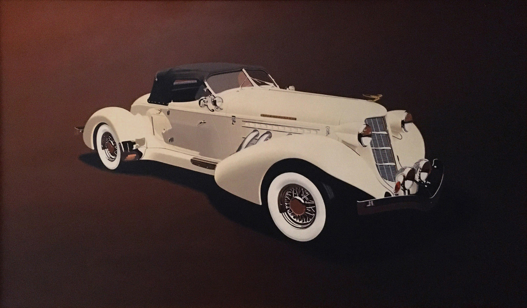 Boattail Auburn by John Mills, Photorealism artist and car ad illustrator as seen on American Pickers.