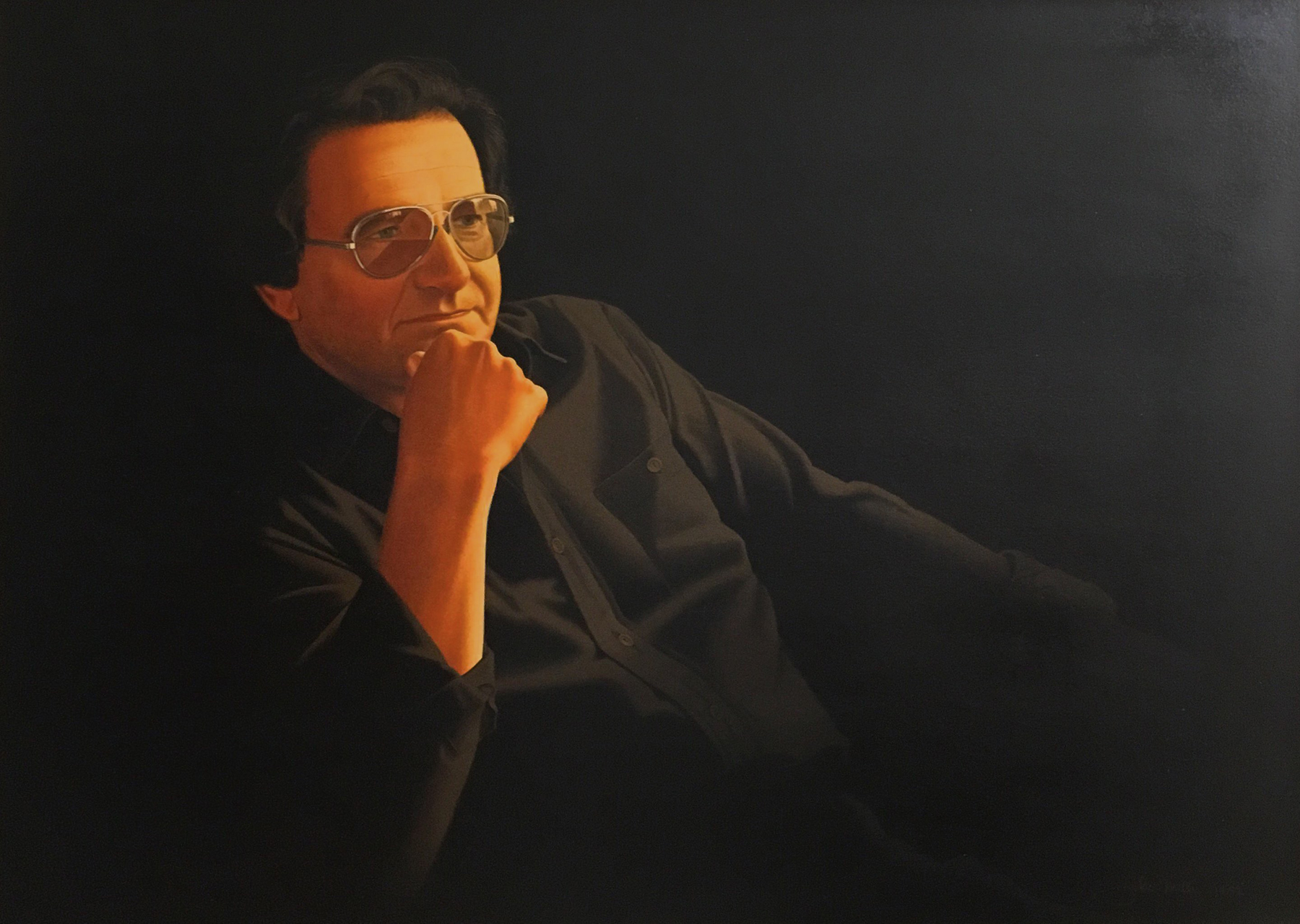 Self Portrait by John Mills, Photorealism artist and car ad illustrator as seen on American Pickers.